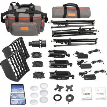 Godox SA-D S30 Focusing LED 3-Light Kit 3x S30 Light, 3x Light Stand, 1x Projection Attachment, 2x Softbox